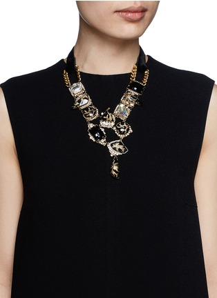 Figure View - Click To Enlarge - Erickson Beamon - 'Sacred Geometry' glitter crystal velvet tie necklace