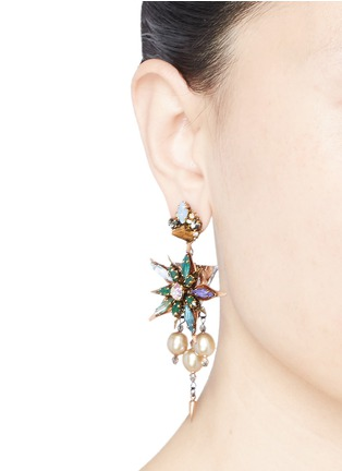 Figure View - Click To Enlarge - Erickson Beamon - Iron Butterfly' floral crystal glass pearl earrings
