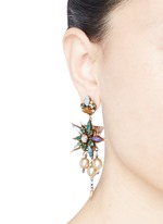 Iron Butterfly' floral crystal glass pearl earrings