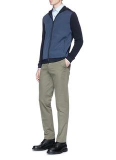 Theory 'Boris Hood MX' waffle knit tech fabric zip hoodie