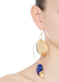 MOUNSER 'Yves' porcelain stone 14k gold plated hoop earrings