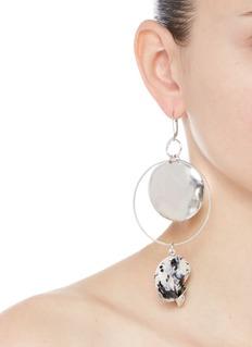 MOUNSER 'Yves' porcelain stone silver plated hoop earrings