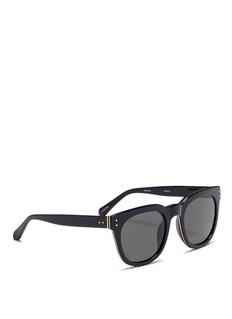 LINDA FARROW VINTAGE Metal inset rim acetate D-frame sunglasses