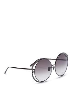 Linda Farrow'Aimee' cutout titanium frame oversized round sunglasses