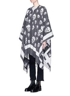 Alexander McQueenSkull jacquard wool-cashmere cape