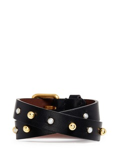 Alexander McQueen Skull safety pin charm double wrap stud leather bracelet