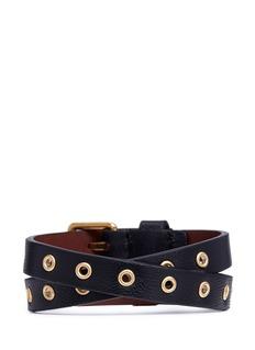 Alexander McQueenSkull charm double wrap nappa leather bracelet