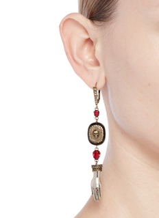Alexander McQueen Swarovski crystal safety pin mismatched drop earrings