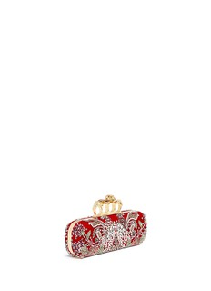 Alexander McQueenSwarovski crystal medieval motif velvet knuckle clutch