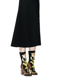 Alexander McQueen Medieval floral embroidered suede mid calf boots