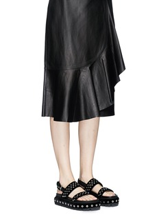 Alexander McQueen Eyelet velvet slingback platform sandals
