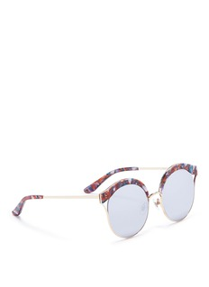 Stephane + Christian 'Malena' shell effect acetate browline mirror sunglasses