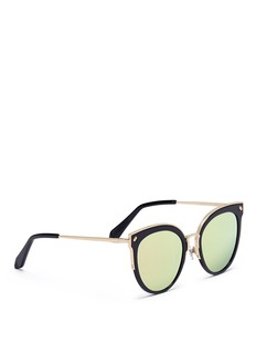 Stephane + Christian 'Shadowcat' acetate and metal cat eye mirror sunglasses