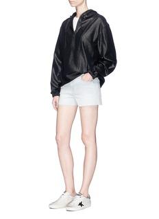 J Brand Frayed hem stripe denim shorts