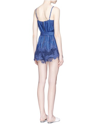 Back View - Click To Enlarge - alice + olivia - 'Rosetta' belted chambray rompers