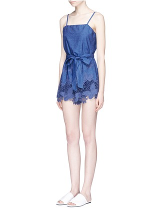 Front View - Click To Enlarge - alice + olivia - 'Rosetta' belted chambray rompers