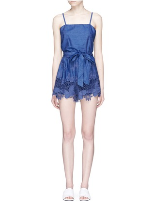 Main View - Click To Enlarge - alice + olivia - 'Rosetta' belted chambray rompers