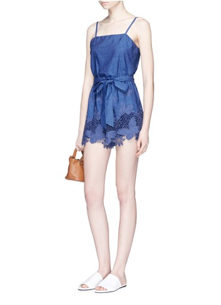 Figure View - Click To Enlarge - alice + olivia - 'Rosetta' belted chambray rompers