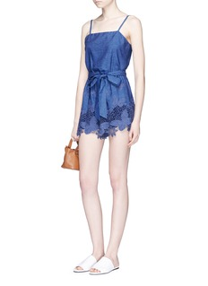 alice + olivia 'Rosetta' belted chambray rompers
