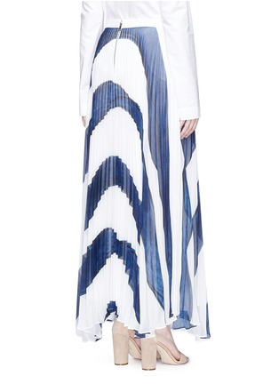 Back View - Click To Enlarge - alice + olivia - 'Shannon' stripe print plissé pleated chiffon skirt