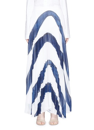 Main View - Click To Enlarge - alice + olivia - 'Shannon' stripe print plissé pleated chiffon skirt