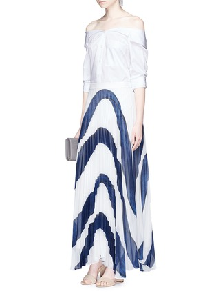 Figure View - Click To Enlarge - alice + olivia - 'Shannon' stripe print plissé pleated chiffon skirt