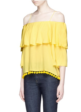 Front View - Click To Enlarge - alice + olivia - 'Meagan' pompom off-shoulder top