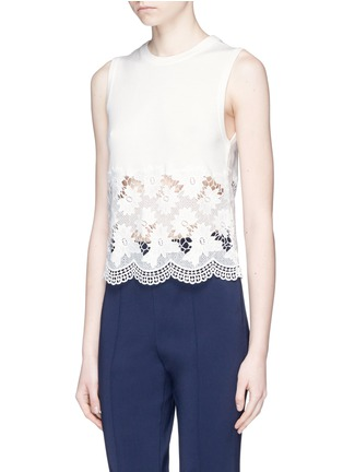 Front View - Click To Enlarge - alice + olivia - 'Somer' guipure lace panel sleeveless knit top