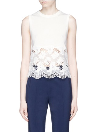 Main View - Click To Enlarge - alice + olivia - 'Somer' guipure lace panel sleeveless knit top