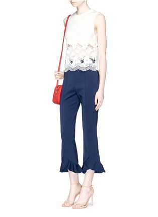 Figure View - Click To Enlarge - alice + olivia - 'Somer' guipure lace panel sleeveless knit top