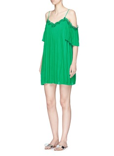 alice + olivia 'Mimi' lace trim pleated cold shoulder dress