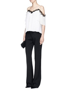 alice + olivia'Fefe' lace trim pleated cold shoulder top