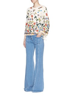alice + olivia 'Lenora' pompom cuff floral embroidered sweater