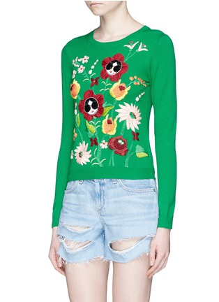 Front View - Click To Enlarge - alice + olivia - 'Connie Garden' Stace Face floral embroidered sweater