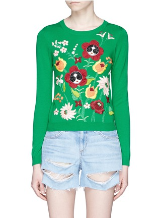 Main View - Click To Enlarge - alice + olivia - 'Connie Garden' Stace Face floral embroidered sweater