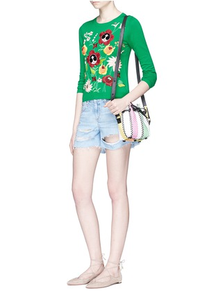 Figure View - Click To Enlarge - alice + olivia - 'Connie Garden' Stace Face floral embroidered sweater