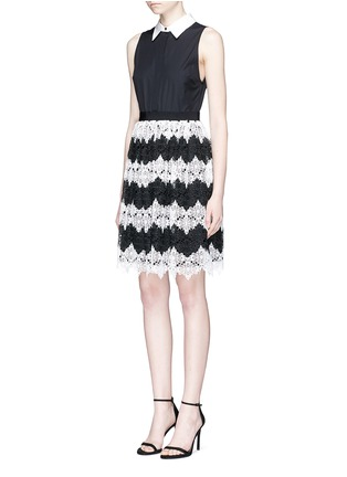 Front View - Click To Enlarge - alice + olivia - 'Stari' crochet lace and poplin sleeveless dress