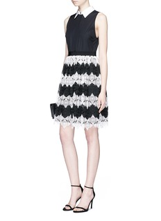 alice + olivia 'Stari' crochet lace and poplin sleeveless dress