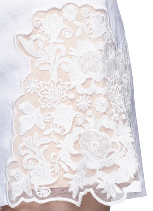 Detail View - Click To Enlarge - alice + olivia - 'Marisa' guipure lace panel shorts