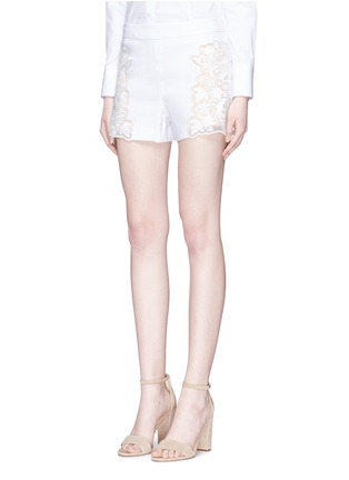 Front View - Click To Enlarge - alice + olivia - 'Marisa' guipure lace panel shorts