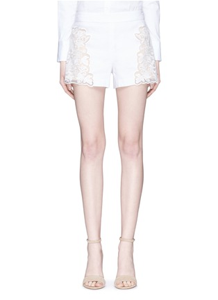 Main View - Click To Enlarge - alice + olivia - 'Marisa' guipure lace panel shorts