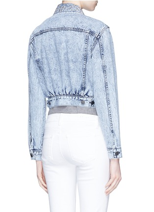 Back View - Click To Enlarge - alice + olivia - 'Chloe' pin badge cropped denim jacket