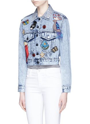 Front View - Click To Enlarge - alice + olivia - 'Chloe' pin badge cropped denim jacket