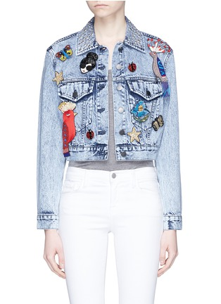 Main View - Click To Enlarge - alice + olivia - 'Chloe' pin badge cropped denim jacket