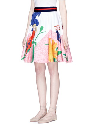 Front View - Click To Enlarge - alice + olivia - 'Earla' bird and plant print flared skirt