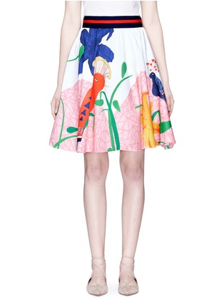 Main View - Click To Enlarge - alice + olivia - 'Earla' bird and plant print flared skirt