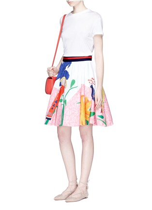 Figure View - Click To Enlarge - alice + olivia - 'Earla' bird and plant print flared skirt
