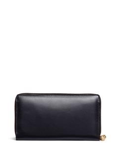 Alexander McQueen Skull charm zip leather continental wallet