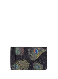 Alexander McQueen Peacock feather print leather card holder