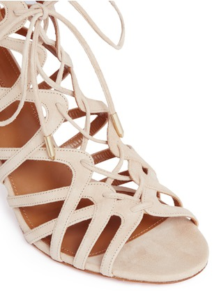 Detail View - Click To Enlarge - Aquazzura - 'Ivy 75' caged suede sandals